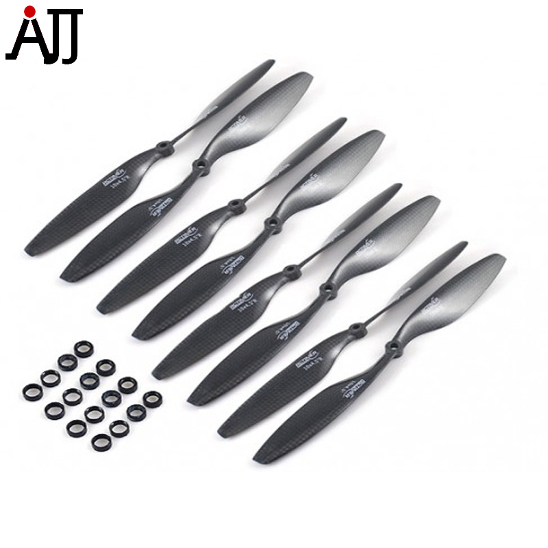 4Pairs/Bag RCTIMER 10x4.5'' 1045 Carbon Fiber Propellers CW CCW Props Hole Adapter for RC Quadcopter FPV Drone Replacement Pro t motor 1255 three hole carbon fiber propeller cw ccw for rc aircraft 2 pairs