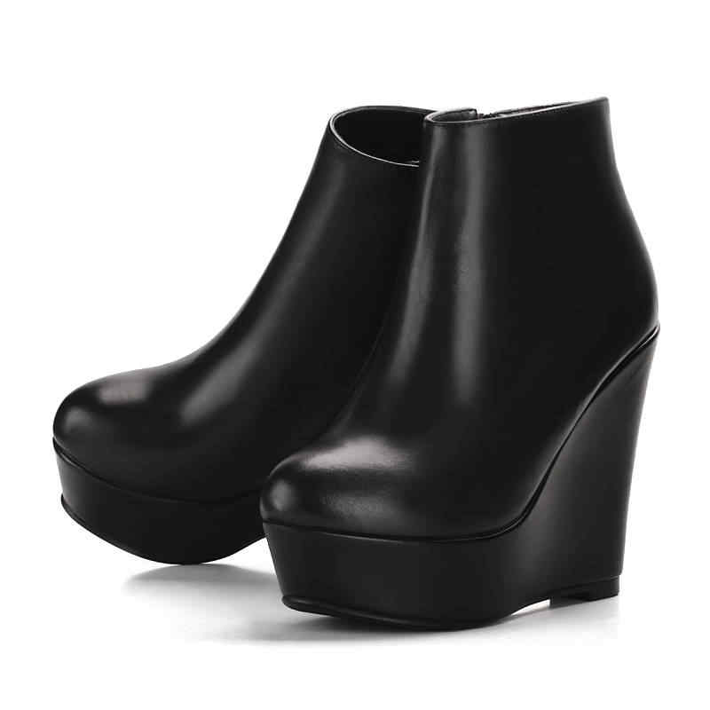 Morazora 2020 Bán Bao Da Chính Hãng Giày Mũi Tròn Mùa Xuân, Mùa Thu Cổ Chân Giày Bốt Nữ Đế Thời Trang Nêm Giày Cao Gót Giày