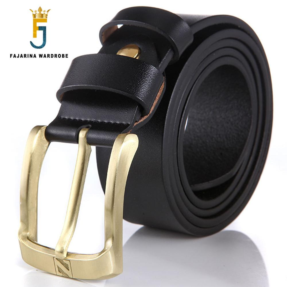 FAJARINA Mens Quality Fashion Pure Genuine Leather Men Gold Colour Pin Buckle Belts for Men 38mm