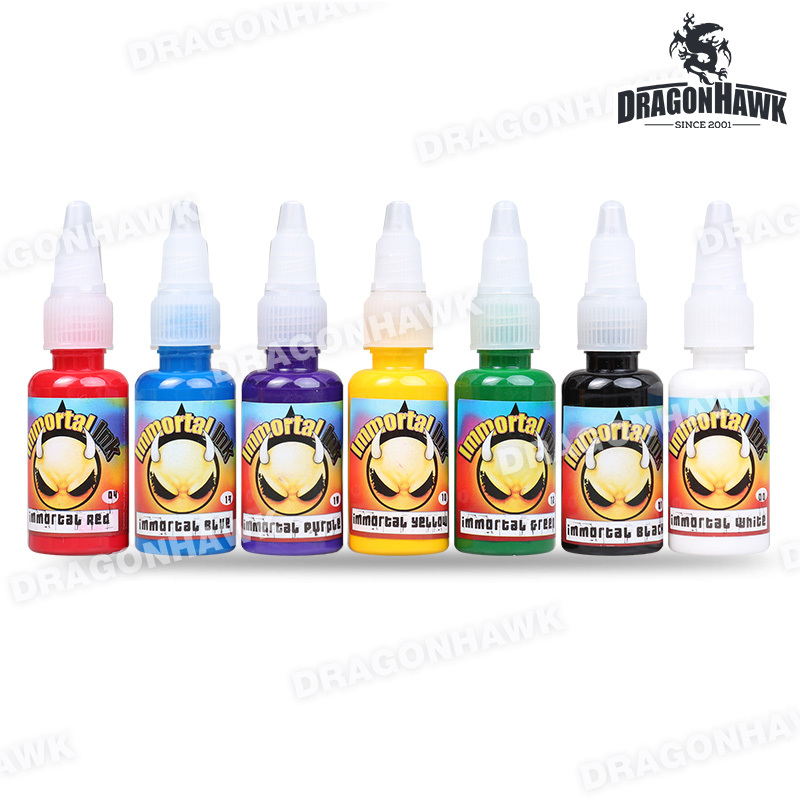 USA Import Immortal Tattoo Ink Pigment 7-PACK Conjunto de colores primarios 0.5 oz Botellas Suministros de color