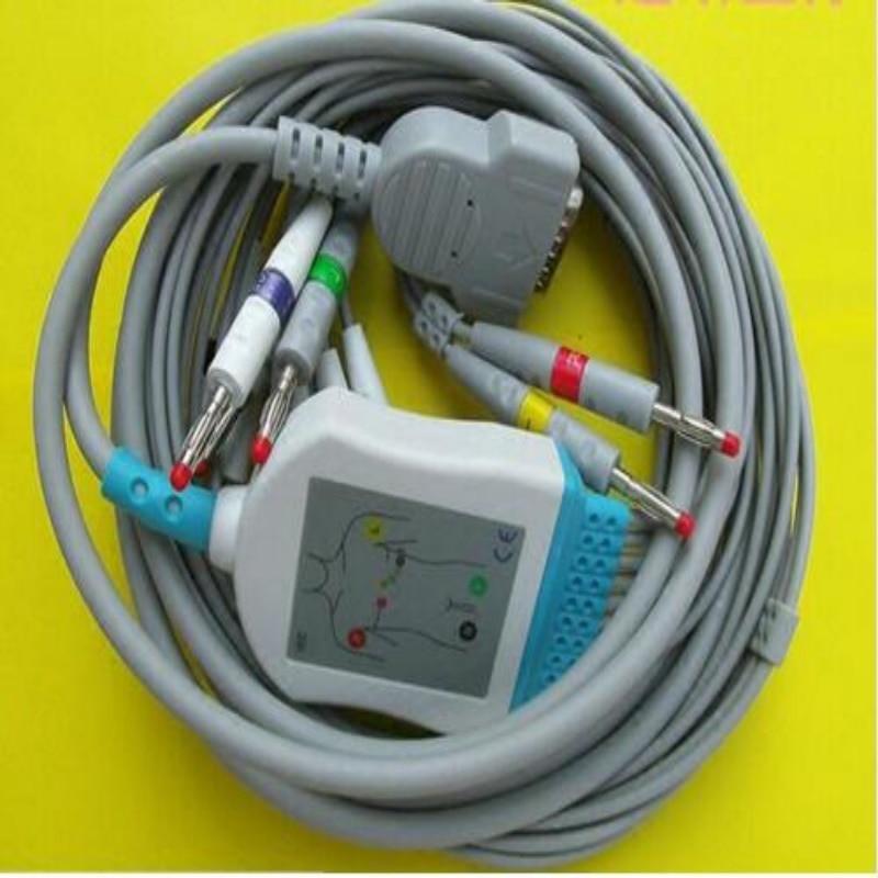 Free Shipping Compatible for GE Marquette MAC400, MAC500, MAC1000, MAC1100/1200,GE EKG ECG Cable 10 Leadwires IEC Banana 4.0 End free shipping 10pcs s24cs02aft tb ge s24cs02a msop 8
