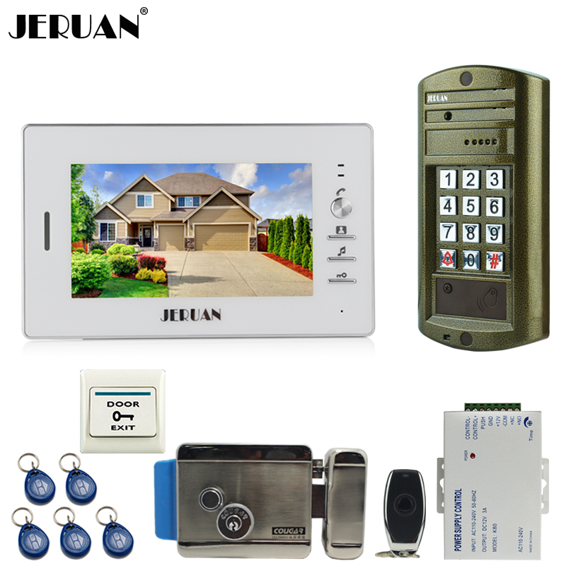 JERUAN 7 inch video door phone intercom system kit Metal waterproof password keypad HD Mini Camera + Electronic control lock jeruan home 7 inch video door phone intercom system kit new metal waterproof access password keypad hd mini camera 2 monitor