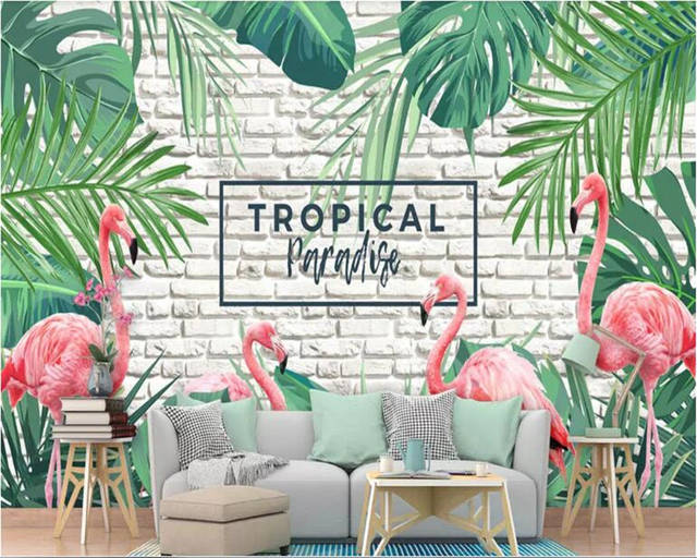 Us 88 45 Offbeibehang Papier Peint Mural 3d Fresh Green Hand Painted Tropical Plants Flamingo Photo Wallpaper Home Interior Living Room Wall In