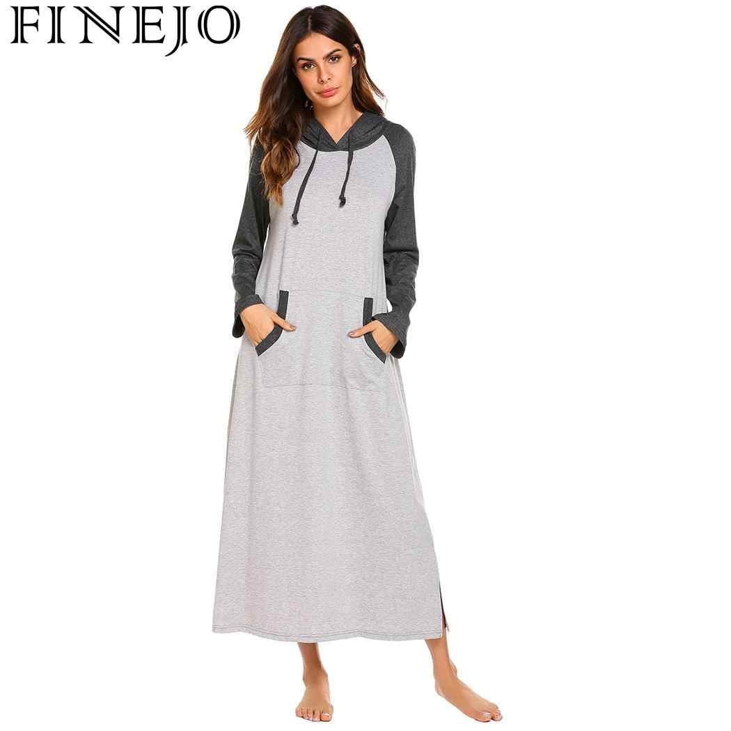 FINEJO Nightdress Women s Autumn 2018 Loose Casual Solid Long Long Sleeve  Feminina Hooded New Fashion Fit 2a25a8133a72
