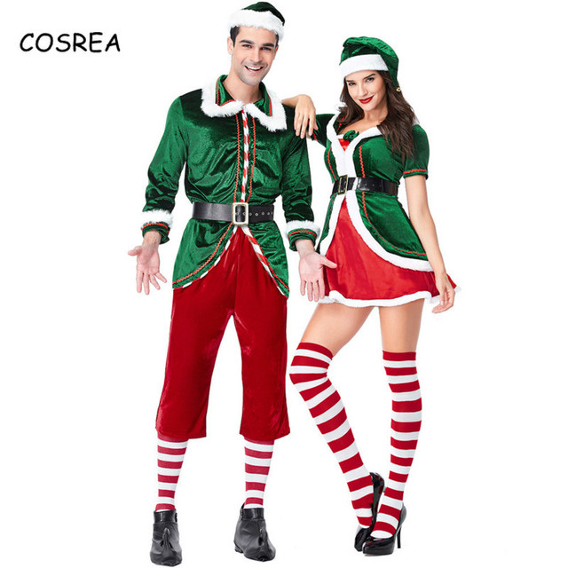 Christmas Cosplay Costume Green Elf Santa Claus Fancy Dress Xmas Suit Party  Halloween Deluxe Outfit for 1bc3dc8f1358