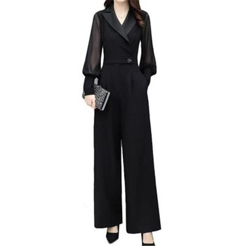 2019 Women Spring Autumn Puff Sleeve Black Chiffon   Jumpsuits   Female Elegant Trendy Wide Leg Overall Lady Plus Size Rompers Z316
