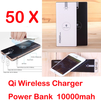 50pcs 2 USB 10000mah Wireless Power Bank Ultra Thin External Battery Pack Portable Qi Charger for Samsung S8 S7 Edge iPhone X 8 usb battery bank charger