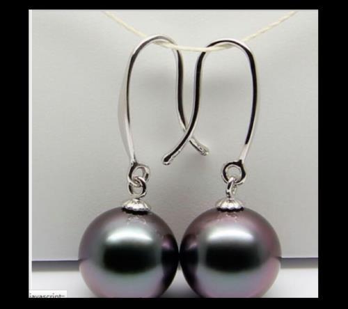 Charmante boucle doreille en perles noires rondes de tahiti AAA + + 10-11mm 14 K/20Charmante boucle doreille en perles noires rondes de tahiti AAA + + 10-11mm 14 K/20