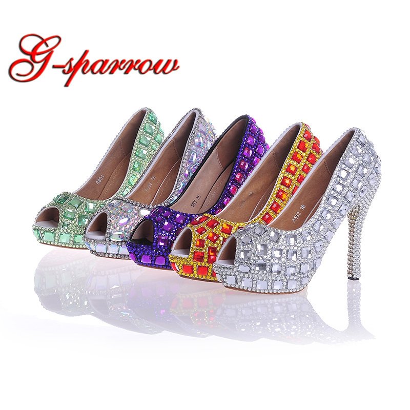 Peep Toe Bridal Wedding Shoes Purple Silver Green AB Crystal Red Stiletto Heel Cinderella Prom Party Pumps Customized Shoes fashion white lady peep toe shoes for wedding graduation party prom shoes elegant high heel lace flower bridal wedding shoes