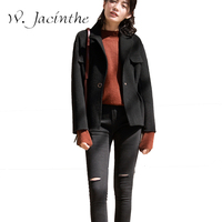 Alpaca Winter Jacket Women Slim Short Cashmere Coat Female Turn Down Collar Single Button Wool Waistcoat