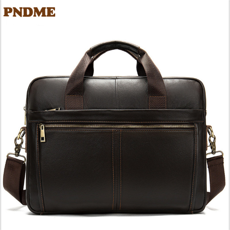 Men's Single Shoulder Horizontal Soft Leather Hand Briefcase Retro Business Documents Leather Briefcase