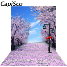 Capisco Cherry Blossom Tree Garden Theme Scene Road photo backdrop Vinyl cloth High quality Computer Print Scenery background(China)