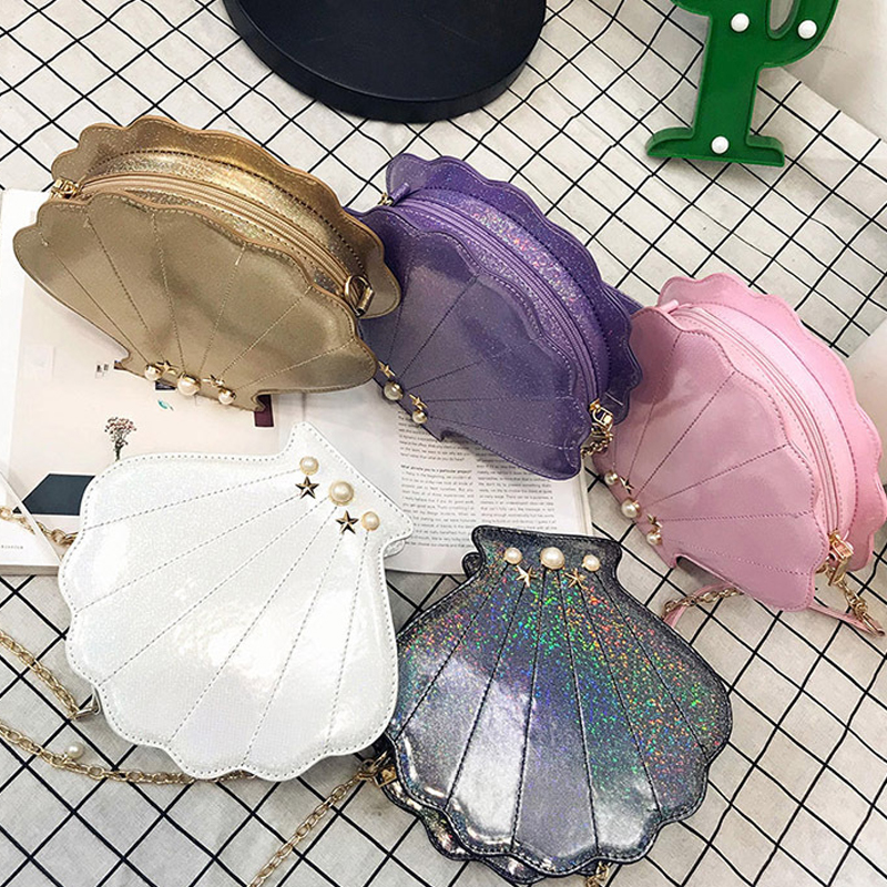 ASDS Womens Hologram Leather Shell Pearl Cross-body Shoulder Bags Purse environmentally friendly pvc inflatable shell water floating row of a variety of swimming pearl shell swimming ring