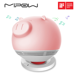 MIPOW Piggy Smart Lights Speakers, PLAYBULB Zoocoro Light for Kids Wireless Charge Tap to Change Color Dimmable Floor Lamp Decor