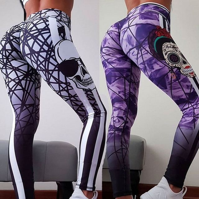 SKULL PATTERN GEOMETRIC LEGGINGS (2 VARIAN)