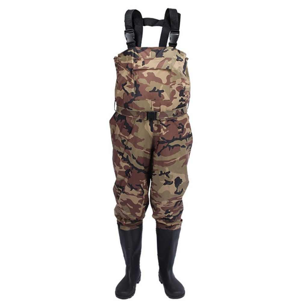 Camuflagem à prova dwaterproof água wading calças com botas de pesca ao ar livre acampamento agricultura respirável macacão masculino usar cinta macacões