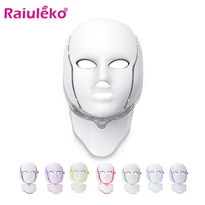 7 Colors Photon Electric LED Facial Mask With Neck Skin Rejuvenation Anti Acne Wrinkle Beauty Treatment Salon Home Use Massage