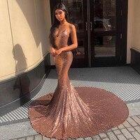 Sexy Deep V Neck Sparkly Prom Gowns 2019 Spaghetti Strap Sequined Mermaid Formal Party Dress Custom Make Vestidos De Gala