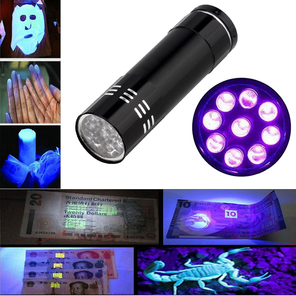Mini 9LED UV Flashlight Ultraviolet led flashlight Ultra Violet Invisible Ink Marker Detection Torch Light 3AAA  lamp L4