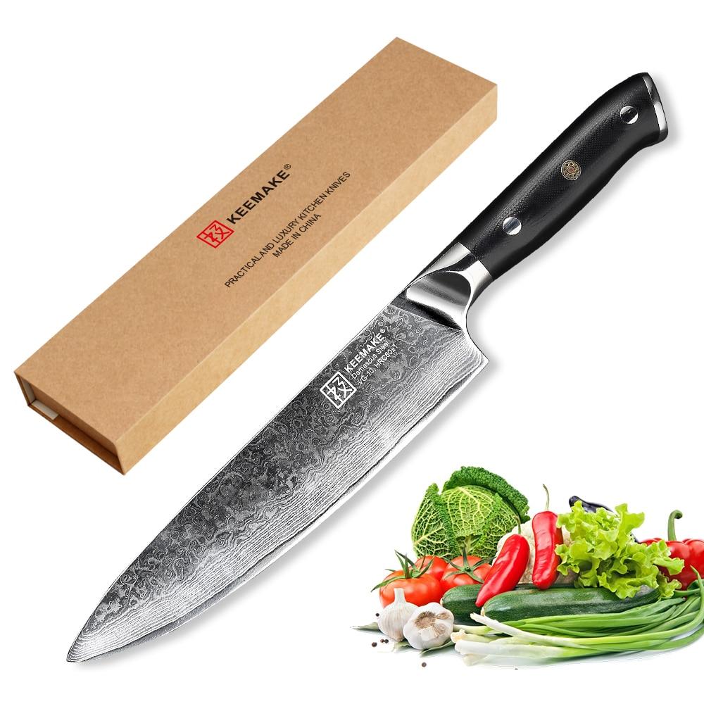 KEEMAKE 8 pouces couteau de Chef couteaux de cuisine japonais 73 couches damas VG10 lame tranchante en acier 60HRC G10 poignée outils de coupe-viande