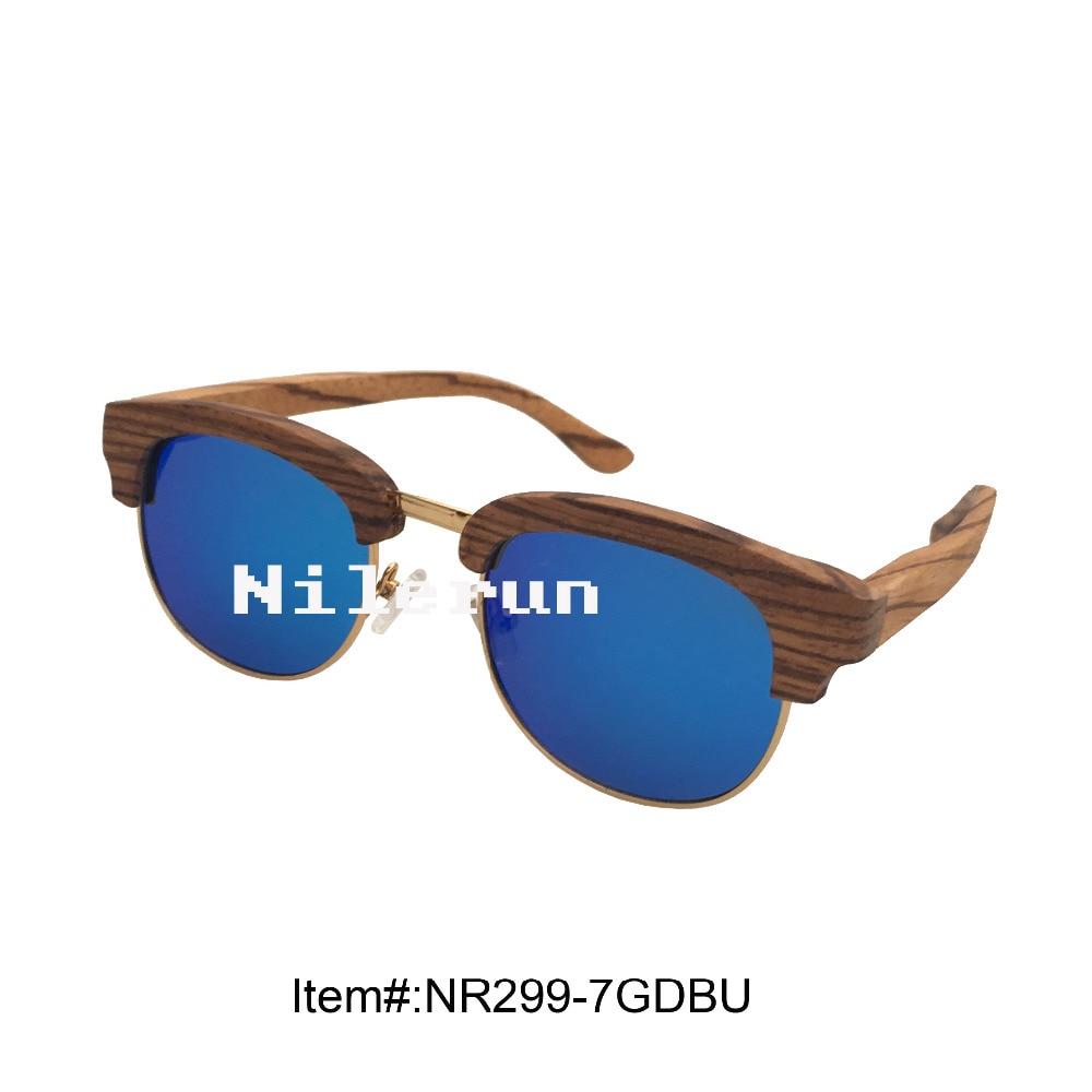 popular mirror blue polarized lens zebra wood metal frame sunglasses uv400 polarized mirror orange lens wood frame sunglasses