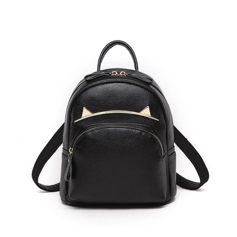 Cat Design Backpack Match Calf Leather Backpacks Women Mochila Feminina Zipper Backpack Bookbags Small BagsCat Design Backpack Match Calf Leather Backpacks Women Mochila Feminina Zipper Backpack Bookbags Small Bags