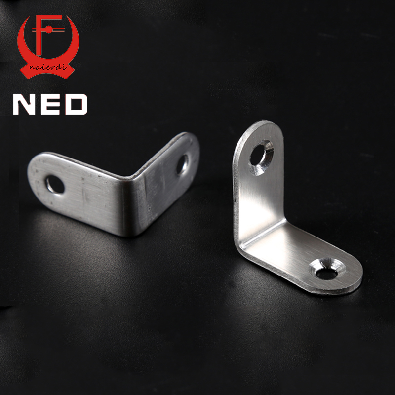 NED 10PCS 30x30x16mm Practical Stainless Steel Corner Brackets Joint Fastening Right Angle 2MM Thickened Brackets For Furniture hamlet ned r