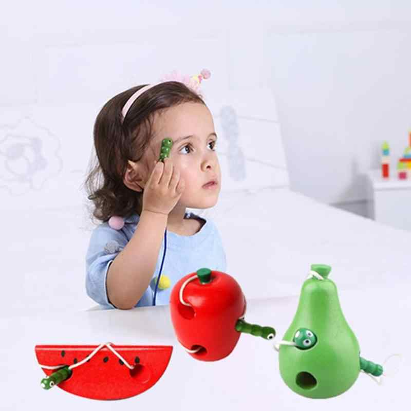 Wooden Thread Toy Educational Child Thread Worm Eat Fruit Pattern Baby Toy Early Learning Teaching Aid Baby Toy Birthday Gift