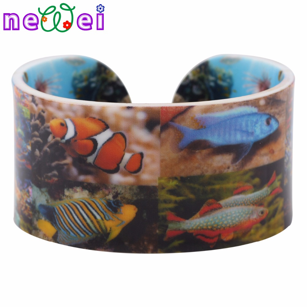 NEWEI Acrylic Fish Pattern Wide Love Bracelets Bangles For Women 2017 News Ocean Collection Jewelry Gift Bijoux Accessories