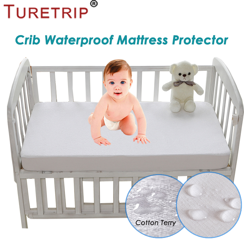 Turetrip 72X132CM Cotton Terry Waterproof Mattress Protector For Baby Toddler Bed Cover Mattress Pad Crib Waterproof Bed Sheet image