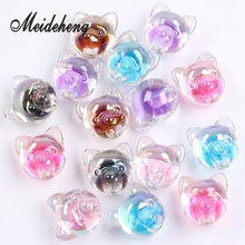 10PC AAA+ Acrylic Transparent Colorful Little Dog Model With Internal Bead Big Hole Beads For Jewelry Making Hair Accessory 30pc 31x28mm multi colorful acrylic flower beads big hole six petals frosted flowers beads for jewelry making garment accessory