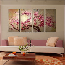hand painted pink tree flower oil painting on canvas sakura blooming Cherry blossom chinese japan wall pictures for living room