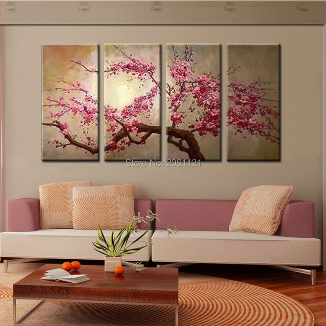 Hand Painted Pink Tree Flower Oil Painting On Canvas Sakura Blooming Cherry Blossom Chinese An Wall Pictures For Living Room