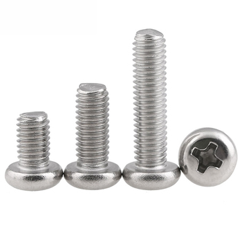 M3 M4 M5 GB818 SUS 201 Stainless Steel Phillips Cross Recessed Round Pan Head Machine Screws Length 6-30mm image