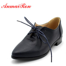 ENMAYER retro lace up square heel oxford shoes fashion pointed toe solid PU women 3 colors classic flat for ladies