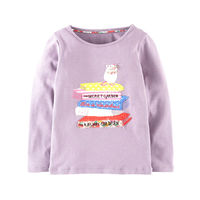 BJT627, Mouse, 6pcs/lot Children girls T shirt, 100% Cotton knitted long sleeve Tee Top for 1-6 year.