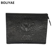 BOLIYAE Men Leather Clutch bag Crocodile pattern Portfolios bag Men's business clutches bag fashion SMALL BAGS fashion purse все цены