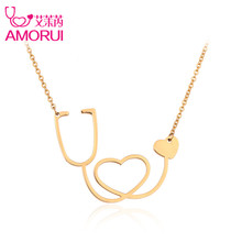 AMORUI Medical Stethoscope Pendant Chain Necklace Rose Gold/Gold/Silver Color Heart Jewelry Collier Femme Necklaces for Women