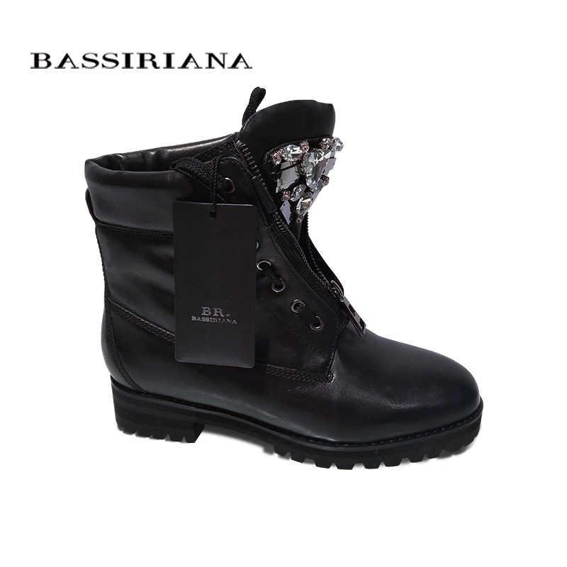 BASSIRIANA Yeni yarım çizmeler Zip moda sonbahar kış kısa ayakkabı kadın çizmeler moda metal ayakkabı botları satış boyutu 35-40