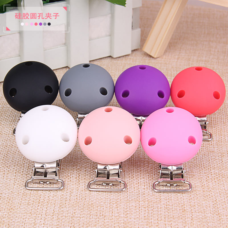 20pc Round Shape Silicone Baby Teether Teething Pacifier Infant Holder Clip Nursing Baby Dummy Clips Universal Chew Soother Clip