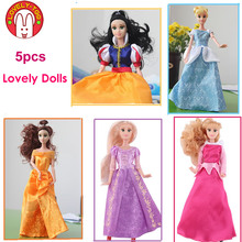 2015 Disny Princess Fashion Mini Fairy Dolls Sofia Snow White Cinderella Doll Rapunzel Aurora Belle Kids Toys For Girls