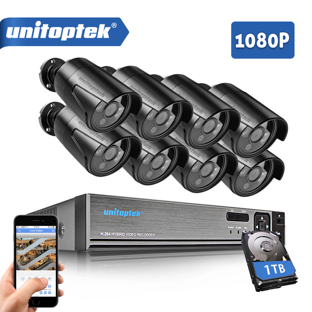 где купить 8CH 1080P HD AHD DVR CCTV System With 8Pcs CCTV Camera 2MP 3000TVL Outdoor Waterproof AHD-H Security Surveillance Camera Kit по лучшей цене