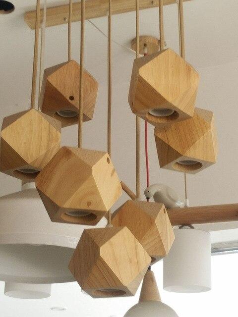 polyhedron wood pendant lights antique vintage for living room dining room cafe coffee decor lighting free