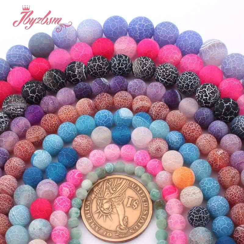 """6,8,10,12mm perline rotonde palla gelo agate screpolate perline di pietra naturale allentate per collana fai da te braccialetto creazione di gioielli filo 15"""""""