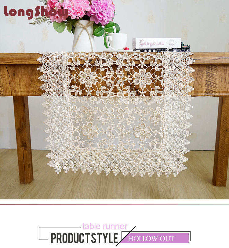 LongShow Luxury Pure Chemical Embroidered Lace Banquet Dining Decoration Hollow-Out Design Table Runner TV Stand Cabinet Cover