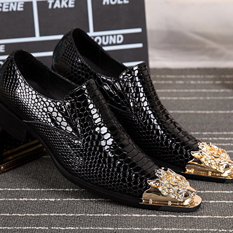 c64ae9117216 Male Dress Loafers Patent Leather Black Gold Metal Toe Pointed Toe Shoes  For Men moccasins mens