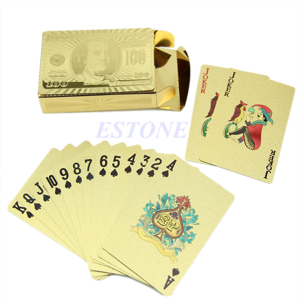 Golden Game Poker Table Card Games Playing Travel Special Gift For Women Men