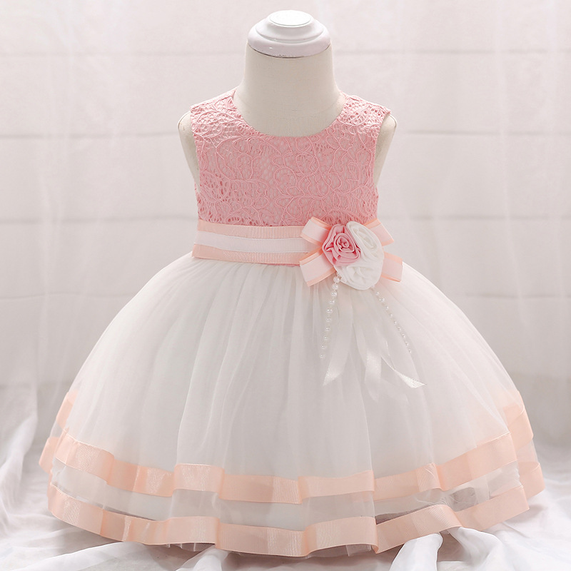 New born girls dress 2018 summer Lace tulle flower party 1st birthday dresses for baby girls clothes vestidos infant tutu gowns 2018 lovely baby infant toddler little girls birthday dress long sleeve lace tulle flower girl dress tutu ball gowns