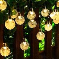 TSLEEN Solar Outdoor String Lights Warm White Crystal Ball Globe Fairy Light Guirlande Lumineuse Interieur Christmas