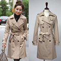 Women 2016 autumn long sleeve double breasted trench coat female overcoat coats womens clothing casacos de inverno feminino